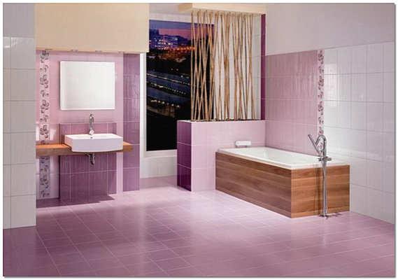 Сиреневая плитка в ванной