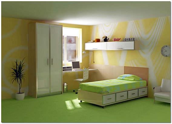 Дизайн детской комнаты в желтом и салатовом цвете