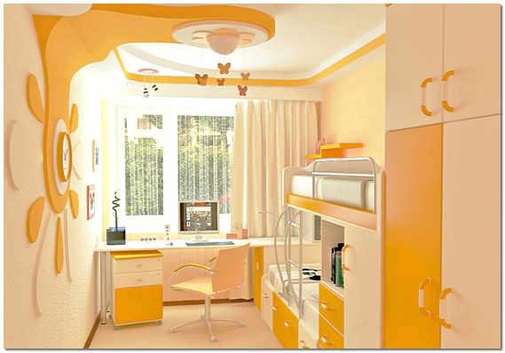 Мебельный гарнитур вдоль одной из стен детской
