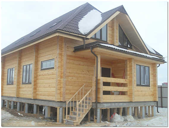Свайный фундамент с ростверком для дома из бруса фото