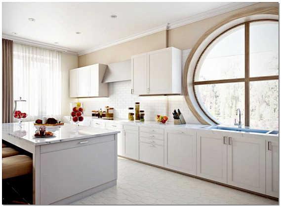 Кухня с круглым окном