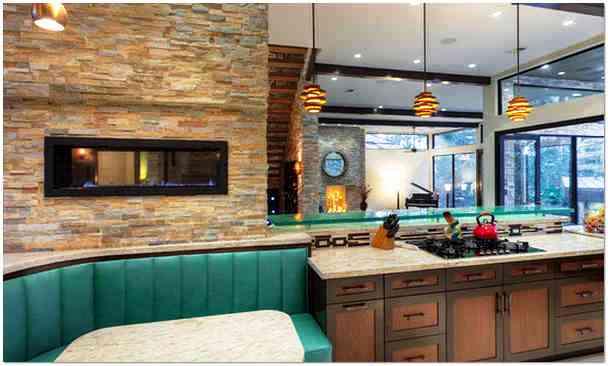 Отделка стен искусственным камнем на кухне