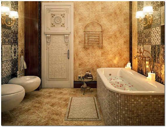 Красивая филенчатая дверь в ванную комнату