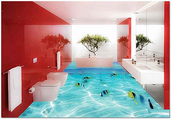 Наливной пол 3D в ванной комнате фото