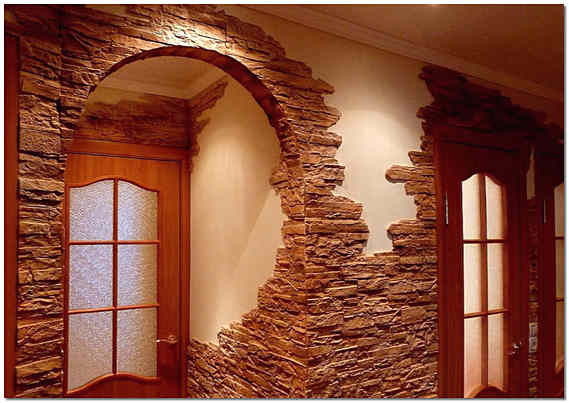 Отделка дверных проемов декоративным камнем фото