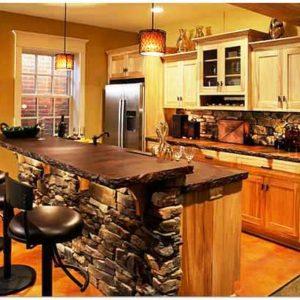 Отделка кухни искусственным камнем своими руками