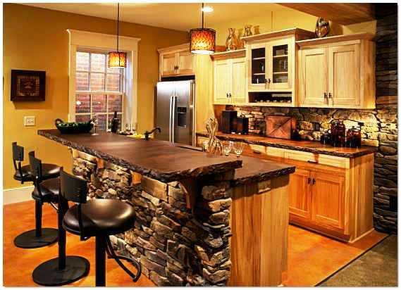Отделка интерьера кухни декоративным камнем