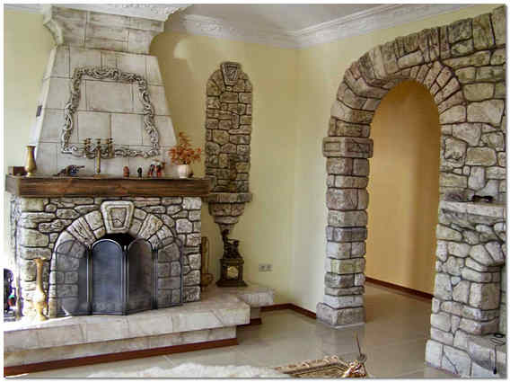 Арка и камин из природного камня