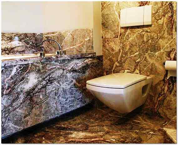 Натуральный камень в интерьере ванной комнаты