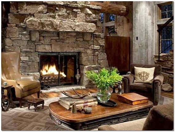 Природный камень в интерьере гостиной фото