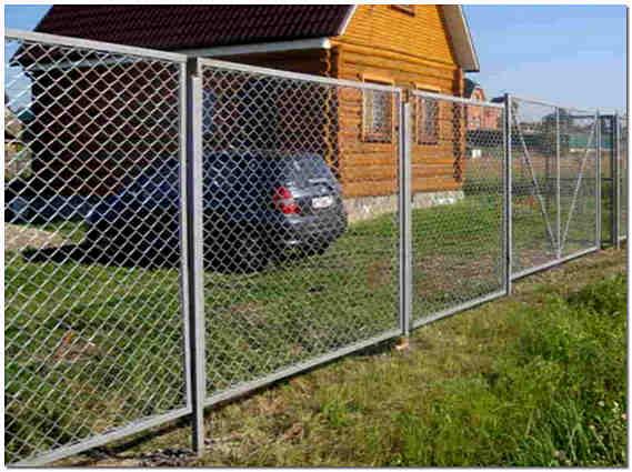 Дачный забор из сетки рабицы фото