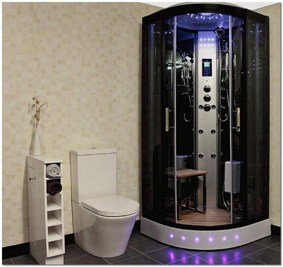 Гидробокс с гидромассажем в интерьере ванной комнаты