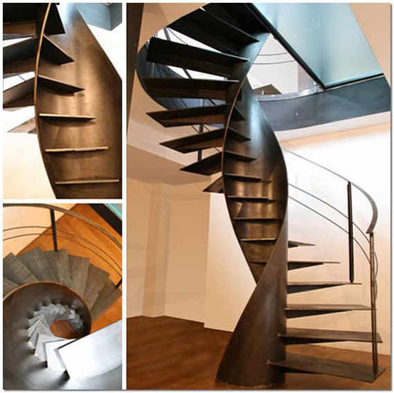 Винтовая металлическая лестница на второй этаж в частном доме