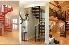 Винтовая лестница на второй этаж или в мансарду в частном доме
