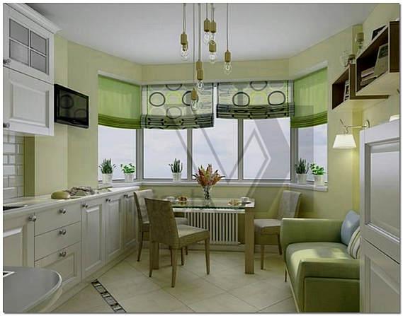 Гостиная кухня с эркером дизайн фото