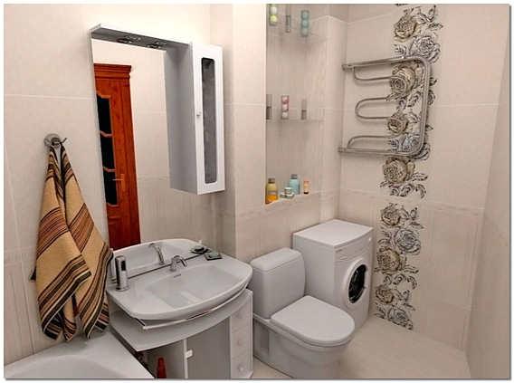 Интерьер маленькой ванной комнаты совмещенной с туалетом в квартире