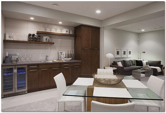 Дизайн большой совмещенной гостиной-студии с кухней