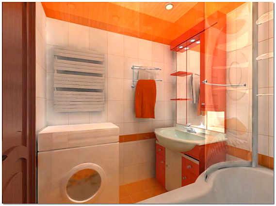 Интерьер ванной в хрущевке в стиле хай тек