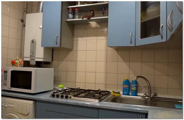 Дизайн кухни фото в хрущевке с газовой колонкой