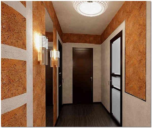 Пробковое настенное покрытие в узком коридоре