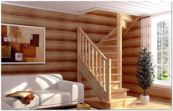 Лестница на тетивах в деревянном доме фото