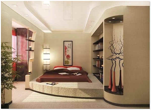 Интерьер спальни с подиумом для кровати
