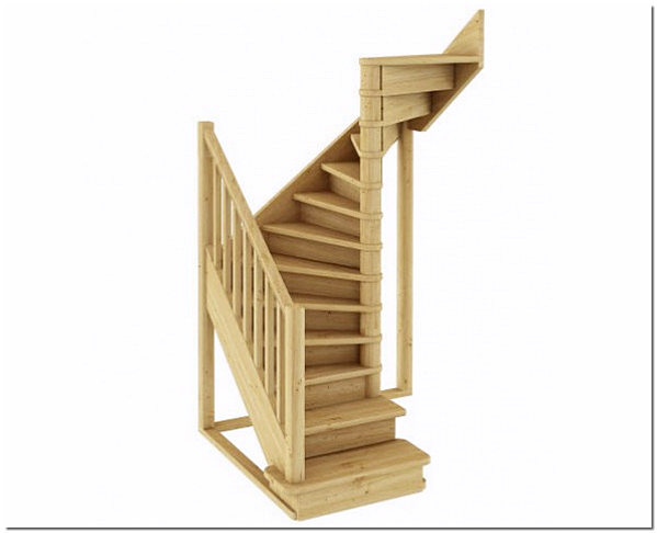 Вариант готовой лестницы на второй этаж частного дома, модель ЛС05м