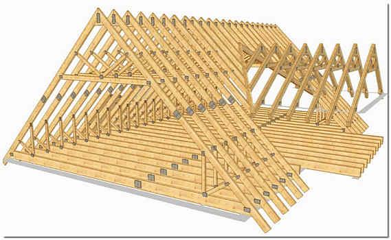 Крыша каркасного дома схема