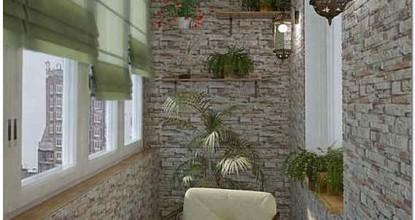 Облицовочный камень для внутренней отделки стен балкона и лоджии