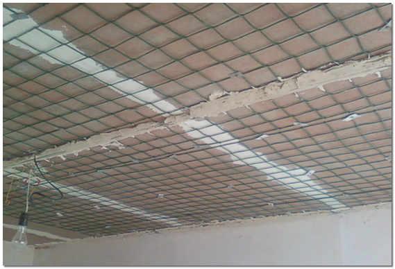 Армирование потолка сеткой фото