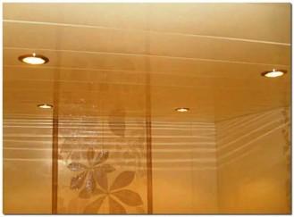 Ремонт потолка в ванной пластиковыми панелями фото