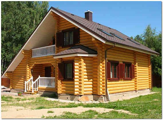 Частный дом из оцилиндрованного бревна фото