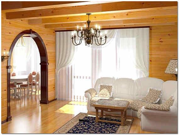 Гостиная в доме из клееного бруса
