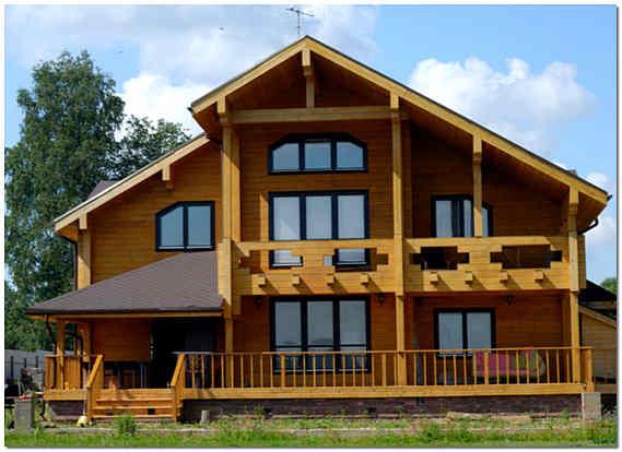 Красивый дом из клееного бруса фото