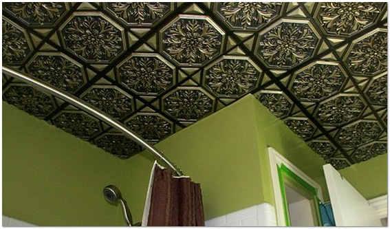 Потолочная плитка в ванной комнате