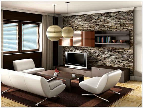 Дизайн гостинной с декоративным камнем фото