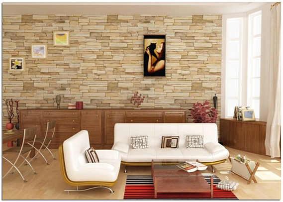 Дизайн зала с декоративным камнем фото