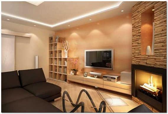 Интерьер гостиной комнаты с камином фото