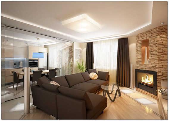 Оформление гостиной комнаты в частном доме с камином