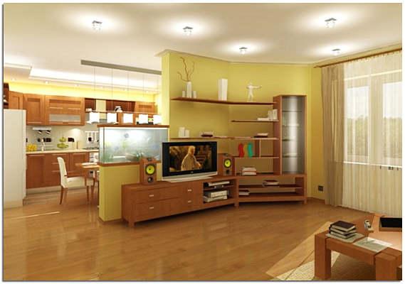 Перепланировка гостиной и кухни