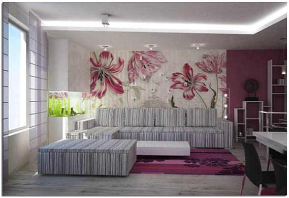 Текстильные обои с крупным рисунком в гостиной