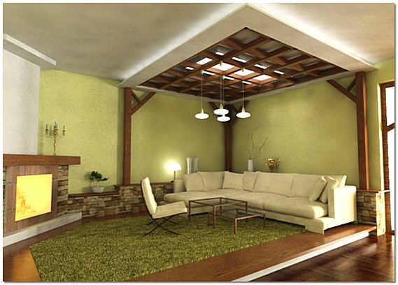 Оформление гостиной комнаты натуральным деревом