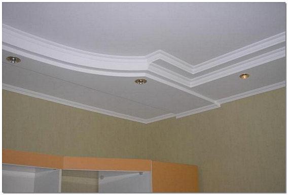 Подвесной потолок из гипсокартона с софитами