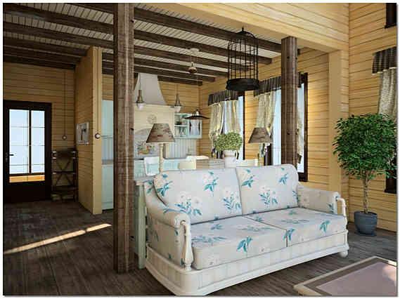 Интерьер дома из клееного бруса фото