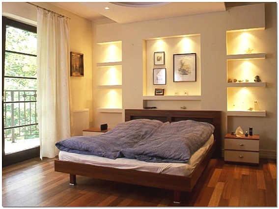 Интерьер спальни с нишами из гипсокартона