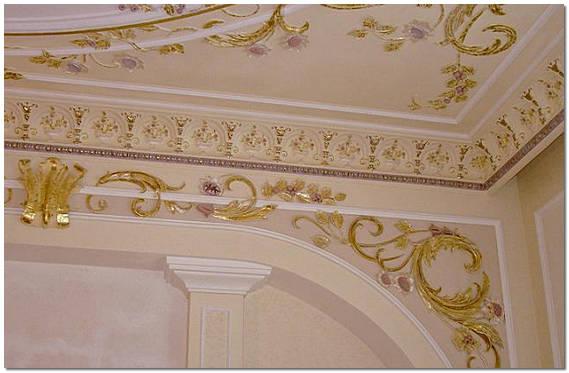 Оформление потолка узорами