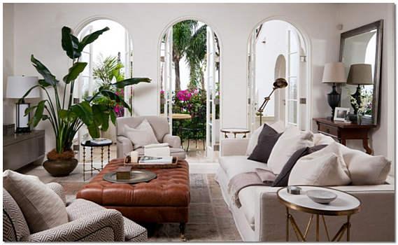 Растения в интерьере гостиной фото