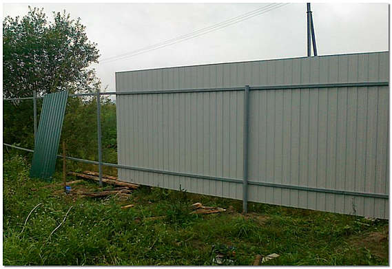 Забор из профнастила своими руками фото