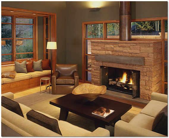 Дизайн гостиной с эркером и камином фото