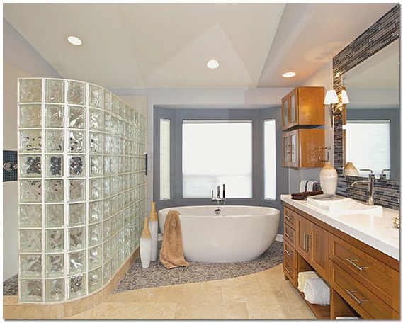 Стеклоблоки в интерьере ванной фото